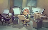 Computer genius working in the lab wallpaper 1920x1080 jpg