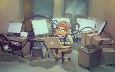 Computer genius working in the lab wallpaper