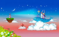 Couple on a whale in the clouds wallpaper 1920x1200 jpg