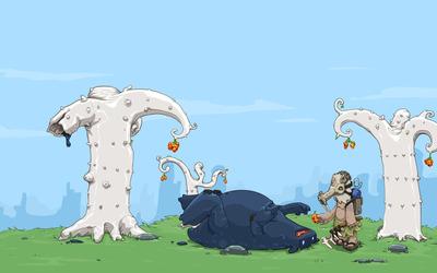 Creatures in the woods wallpaper