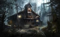 Creepy wooden house in the forest wallpaper 1920x1200 jpg