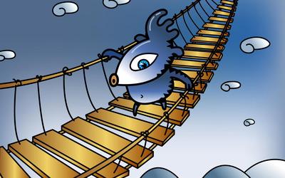 Crossing a suspension bridge wallpaper