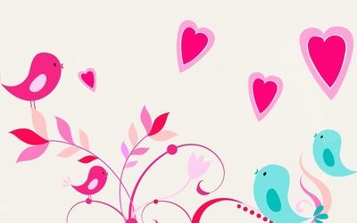 Cute colorful birds spreading love wallpaper