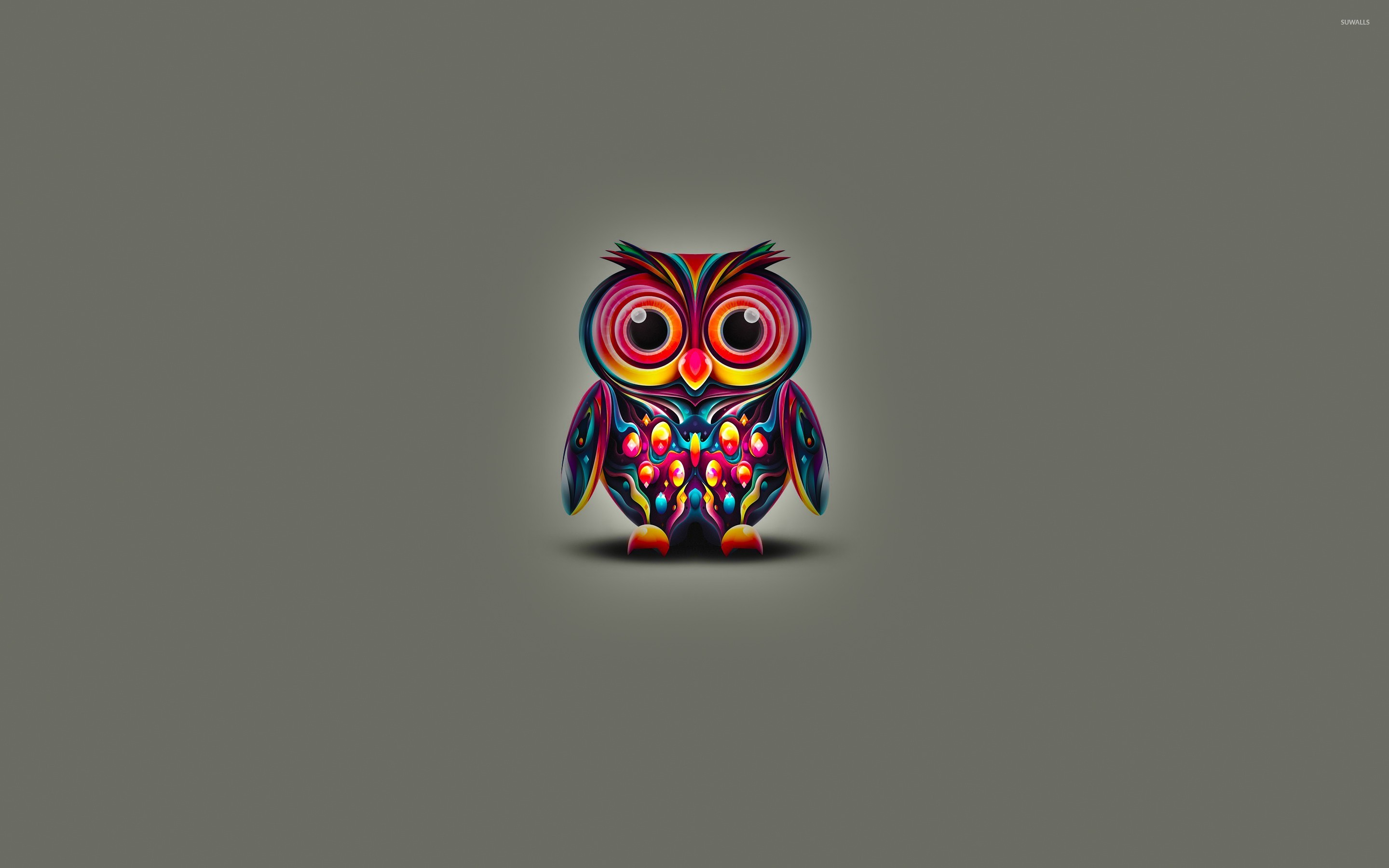 Cute Owl With Colorful Bright Feathers Wallpaper