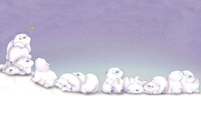 Cute polar bears chasing a butterfly wallpaper
