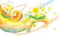 Dandelions on pastel curves wallpaper 2880x1800 jpg