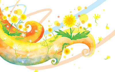 Dandelions on pastel curves wallpaper