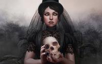 Dark bride holding a skull wallpaper 1920x1200 jpg