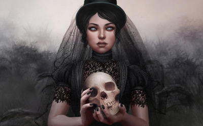 Dark bride holding a skull wallpaper
