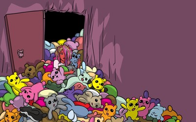 Devil among colorful teddy bears Wallpaper