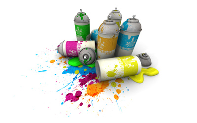 Dirty colorful spray cans wallpaper