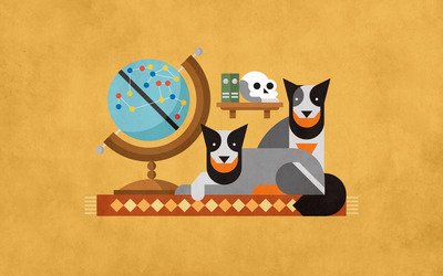 Dogs in a study wallpaper