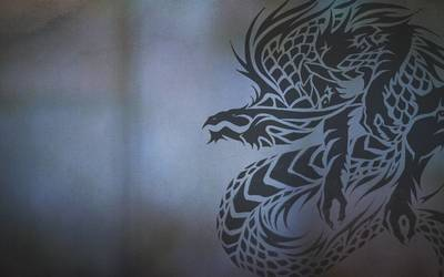 Dragon on the cracked wall wallpaper