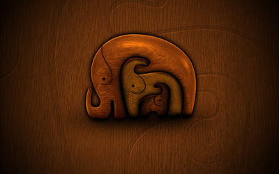 Elephants carved in the wood wallpaper