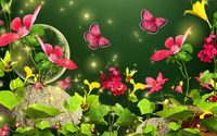 Fireflies and butterflies in the meadow wallpaper 1920x1080 jpg