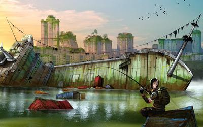 Fishing at the shipwreck wallpaper
