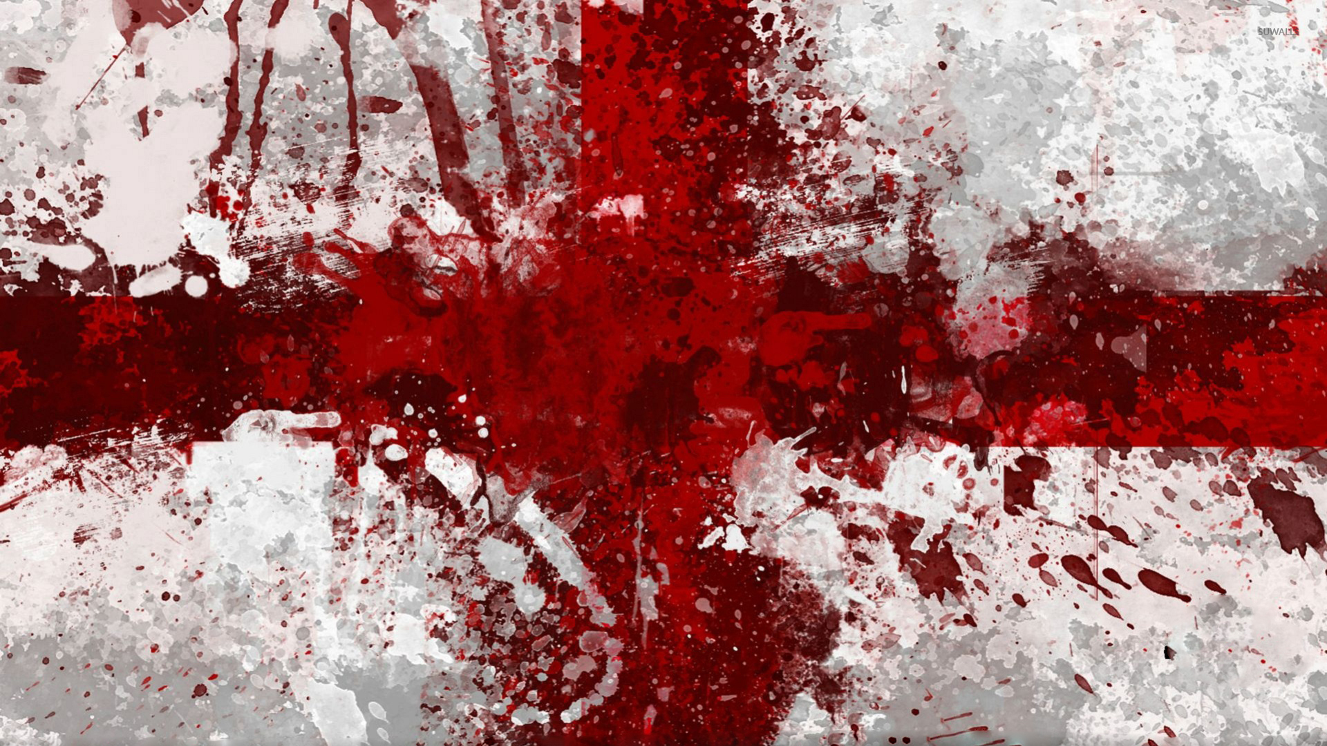Flag Of England With Paint Splash Wallpaper Digital Art