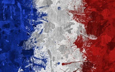 Flag of France with paint drops wallpaper