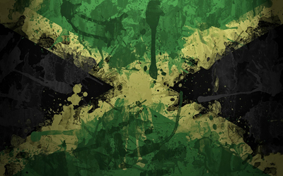 Flag of Jamaica with paint drops Wallpaper