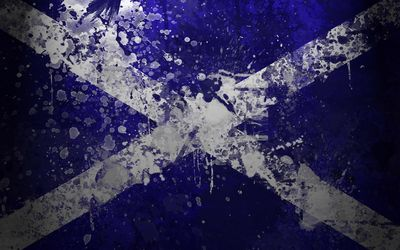 Flag of Scotland with paint splash Wallpaper