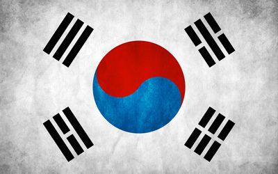 Flag of South Korea on a gray wall wallpaper