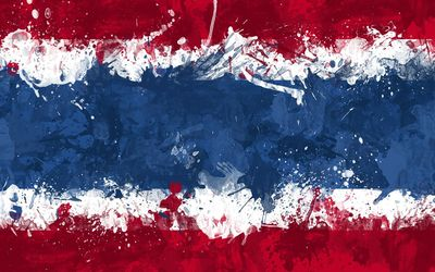 Flag of Thailand with paint splash wallpaper