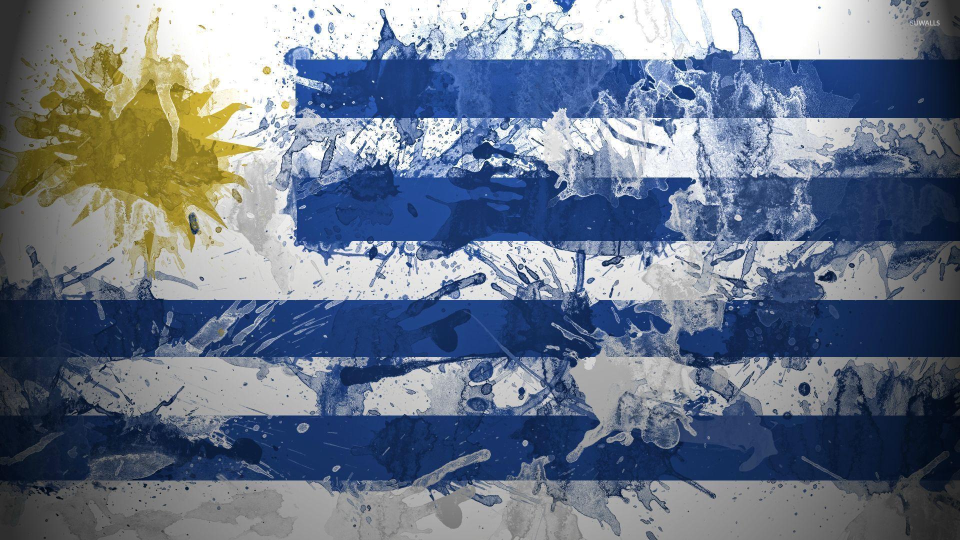 Flag Of Uruguay With Paint Drops Wallpaper Digital Art - Uruguay flag