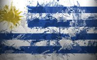 Flag of Uruguay with paint drops wallpaper 1920x1080 jpg