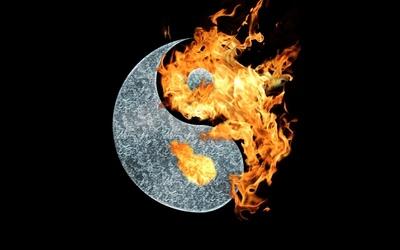 Flaming Taijitu symbol wallpaper