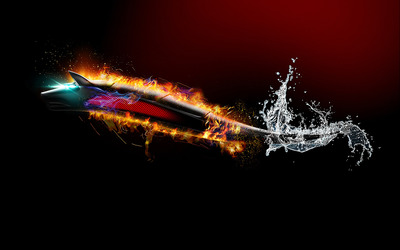 Flaming wolf from water wallpaper