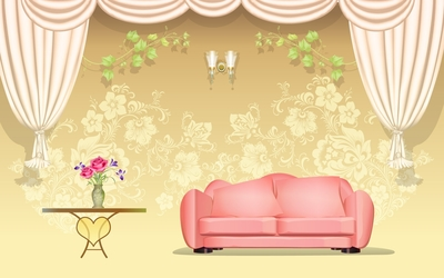 Floral wall behind the sofa wallpaper