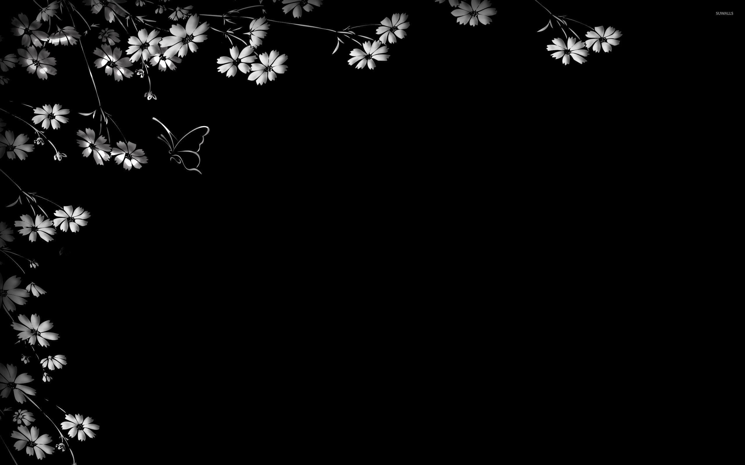 Flowers on the black wall wallpaper digital art for Black and white wallpaper for walls