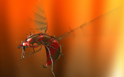 Flying robot insect wallpaper
