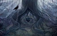 Fountain under a tree in the dark forest wallpaper 1920x1200 jpg