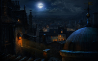 Full moon over the old town wallpaper 1920x1200 jpg