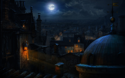 Full moon over the old town Wallpaper