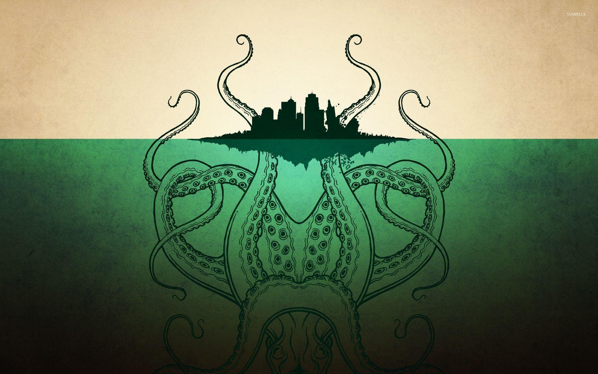 Giant Octopus Against The City Wallpaper