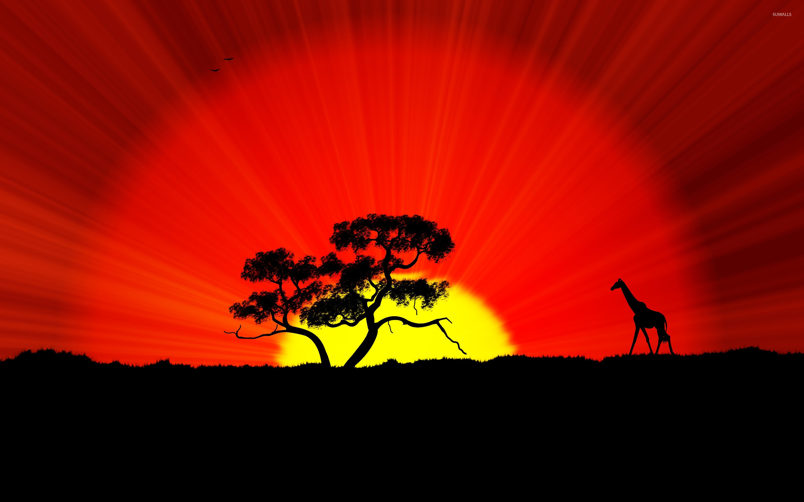 Giraffe And Tree Silhouette In The Sunset Wallpaper