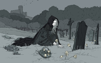 Girl in cemetery wallpaper 1920x1200 jpg