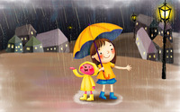 Girl in the rain wallpaper 1920x1200 jpg