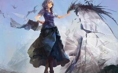 Girl playing with a smoke dragon wallpaper