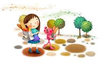 Girl walking with her teddy wallpaper 1920x1200 jpg
