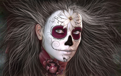 Girl with a Day of the Dead make-up wallpaper