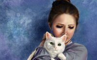 Girl with a white cat wallpaper 1920x1200 jpg
