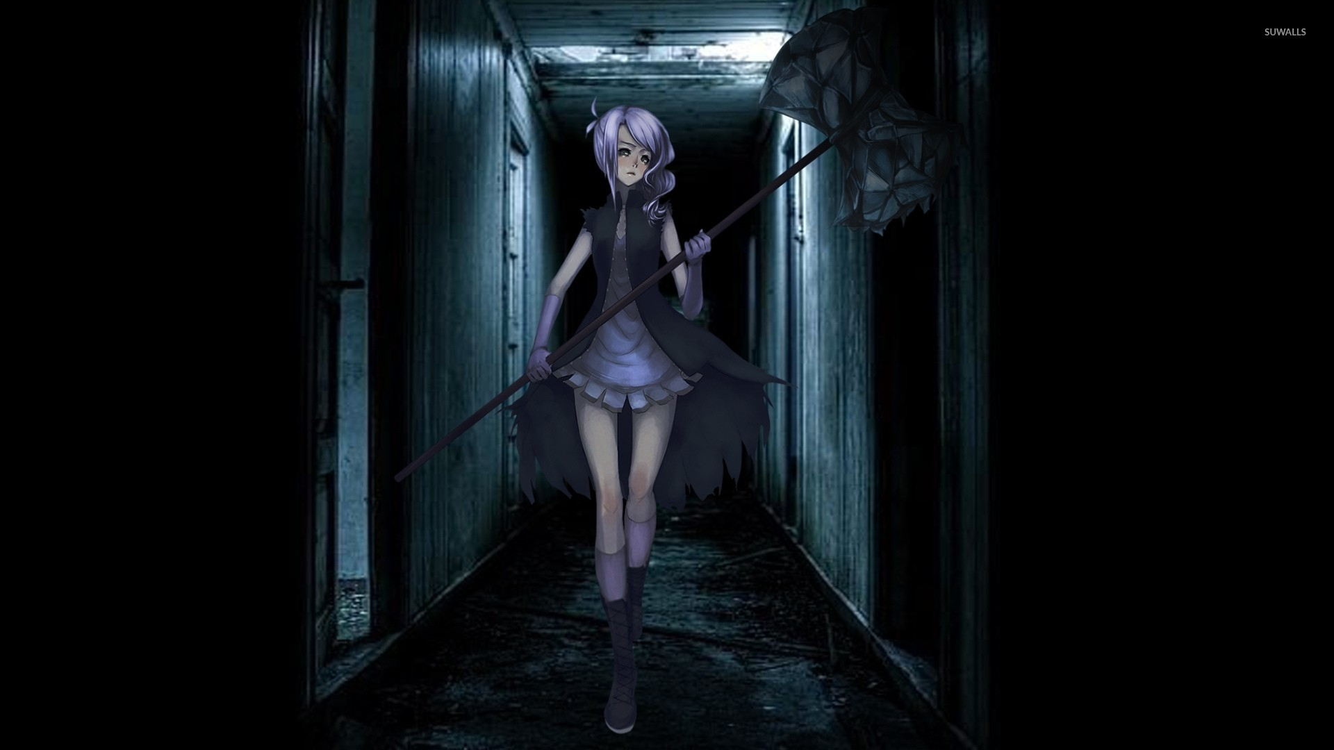 Girl With Purple Hair Walking Through A Dark Hallway Wallpaper