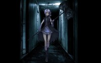 Girl with purple hair walking through a dark hallway wallpaper 1920x1080 jpg