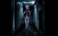 Girl with purple hair walking through a dark hallway wallpaper 1920x1080 jpg