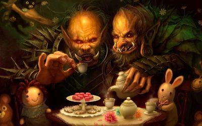 Goblinds drinking tea wallpaper