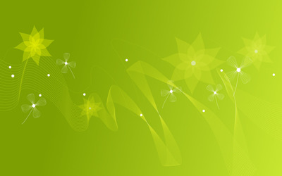 Green waves and flowers wallpaper