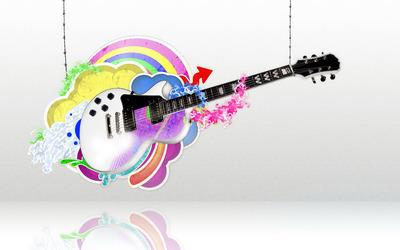 Guitar held by strings wallpaper